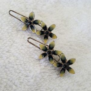 Pair of Vintage Petite Enamel Hair Clips